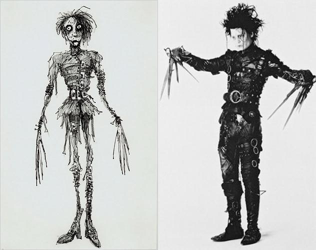 Concept Sketch Of Edward ScissorhandsJohnny Depp In The Film